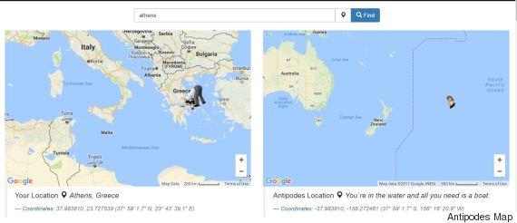 Αυτός ο χάρτης σας δείχνει που θα βρεθείτε αν σκάψετε κάθετα στη Γη (επειδή όλοι αναρωτιέστε)